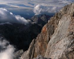Scene of western Julian Alps from the wall of the Triglav