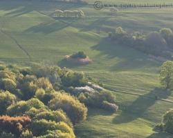 Early awakening rays draw the shades of soft fresh foliage of trees on the slopes of the White Carpathians