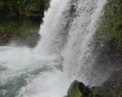 Ukryté v džungli pod svahmi sopky La Soufriere sa krútia, šumia, spievajú svoju clivú pieseň vody vodopádu Trinity.