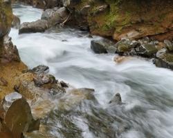 Pod vodopádmi je koryto riečky hlboko zarezané do hornín sopky La Soufriere.