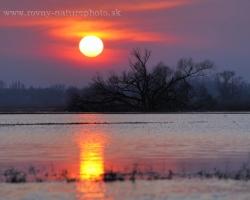 Slnko sa ako ohnivý kotúč kotúľ ponad kalné vody uložiť sa k zaslúženému spánku